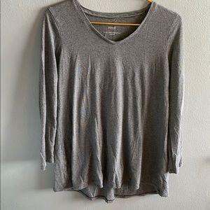 PureJill Gray Striped Long Sleeve Shirt
